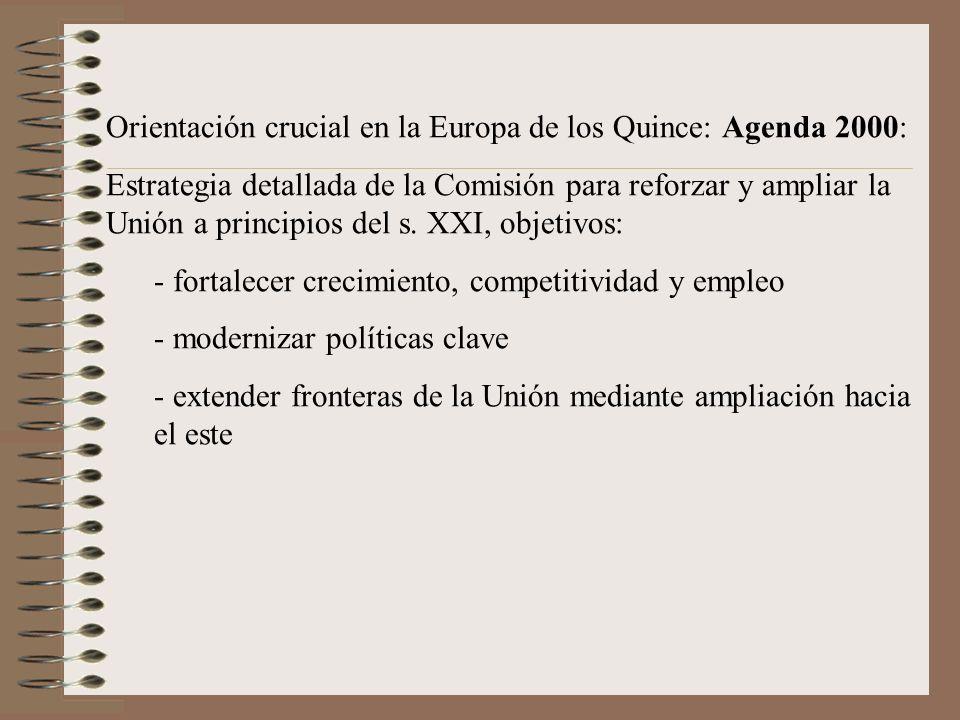 Orientación crucial en la Europa de los Quince: Agenda 2000: Estrategia detallada de la Comisión para reforzar y ampliar la Unión a principios del s.