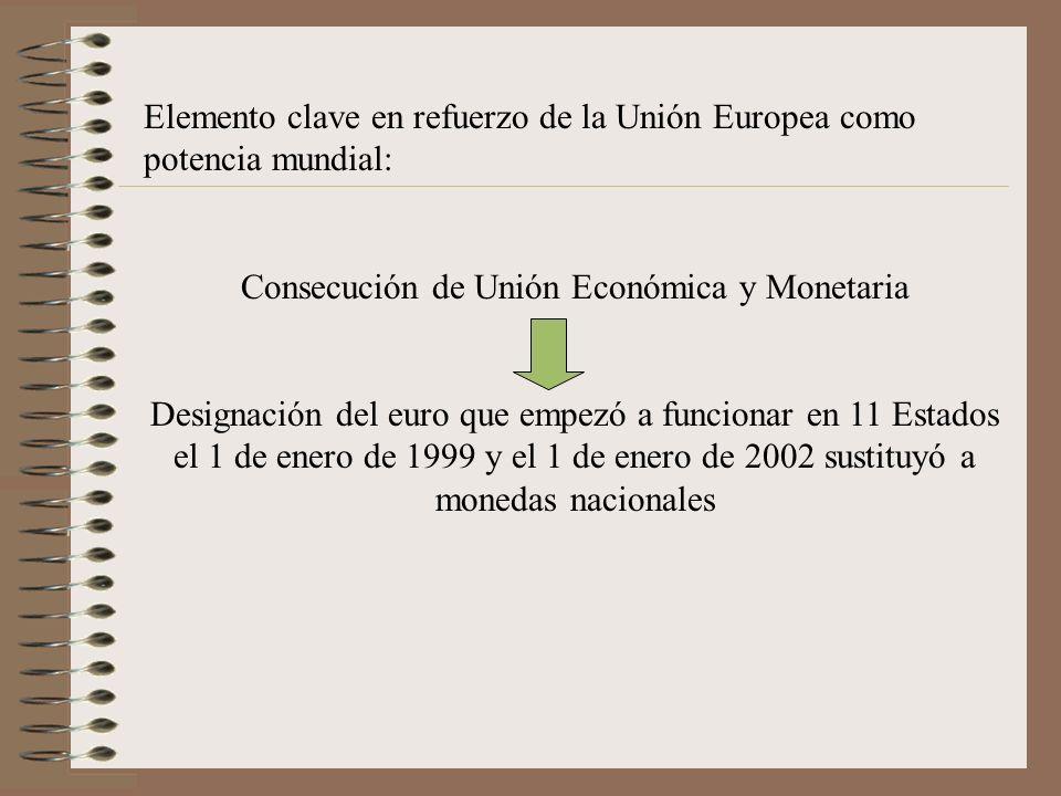 Elemento clave en refuerzo de la Unión Europea como potencia mundial: Consecución de Unión Económica y Monetaria Designación del euro que empezó a fun