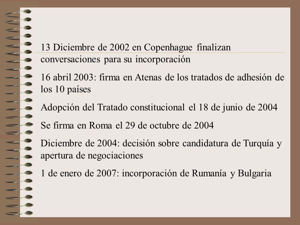 13 Diciembre de 2002 en Copenhague finalizan conversaciones para su incorporación 16 abril 2003: firma en Atenas de los tratados de adhesión de los 10