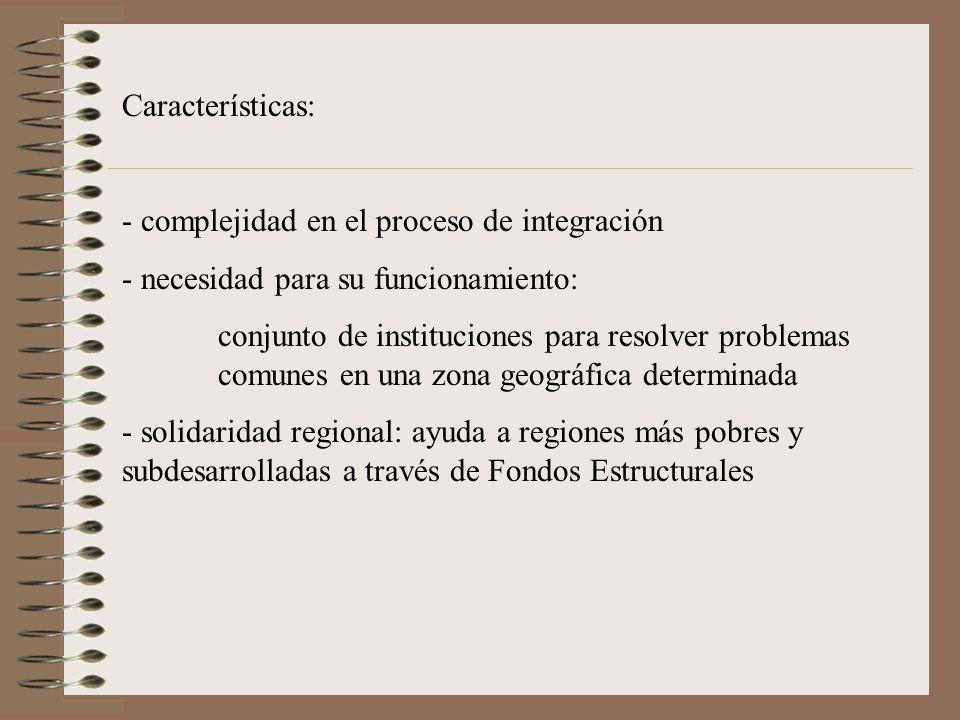 Características: - complejidad en el proceso de integración - necesidad para su funcionamiento: conjunto de instituciones para resolver problemas comu