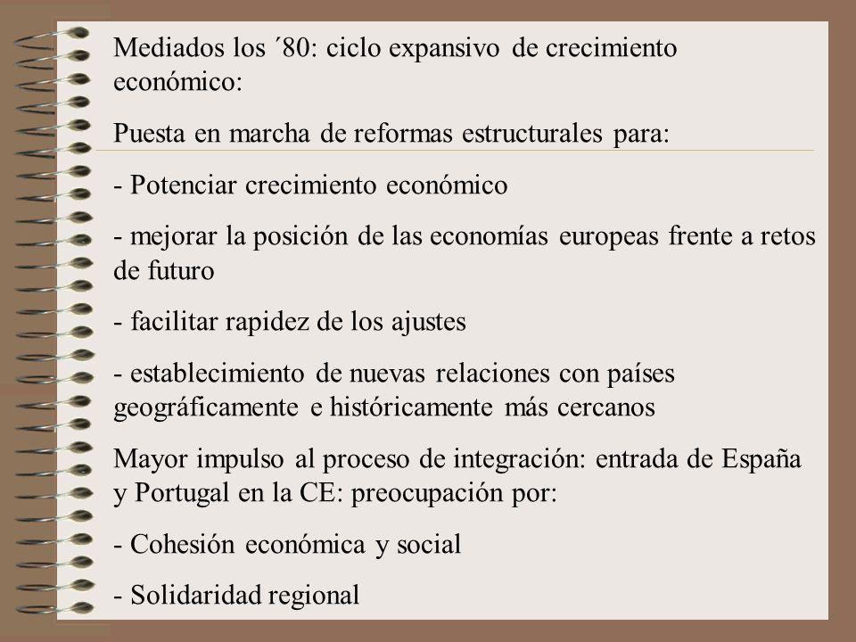 Mediados los ´80: ciclo expansivo de crecimiento económico: Puesta en marcha de reformas estructurales para: - Potenciar crecimiento económico - mejor