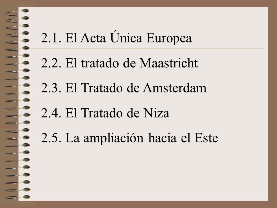 2.1. El Acta Única Europea 2.2. El tratado de Maastricht 2.3. El Tratado de Amsterdam 2.4. El Tratado de Niza 2.5. La ampliación hacia el Este