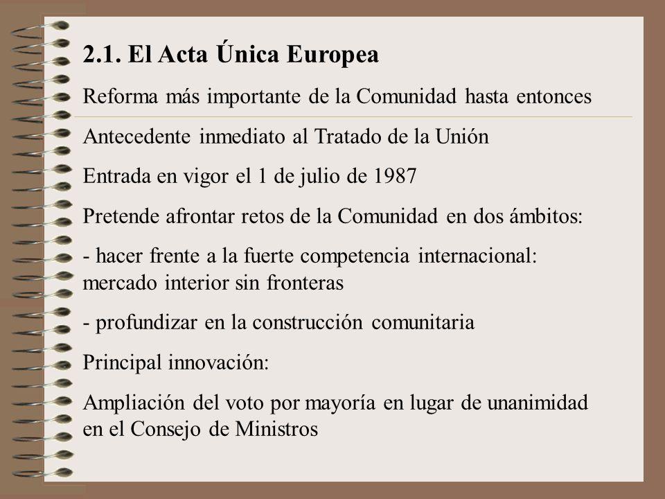 2.1. El Acta Única Europea Reforma más importante de la Comunidad hasta entonces Antecedente inmediato al Tratado de la Unión Entrada en vigor el 1 de