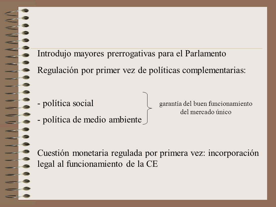 Introdujo mayores prerrogativas para el Parlamento Regulación por primer vez de políticas complementarias: - política social - política de medio ambie