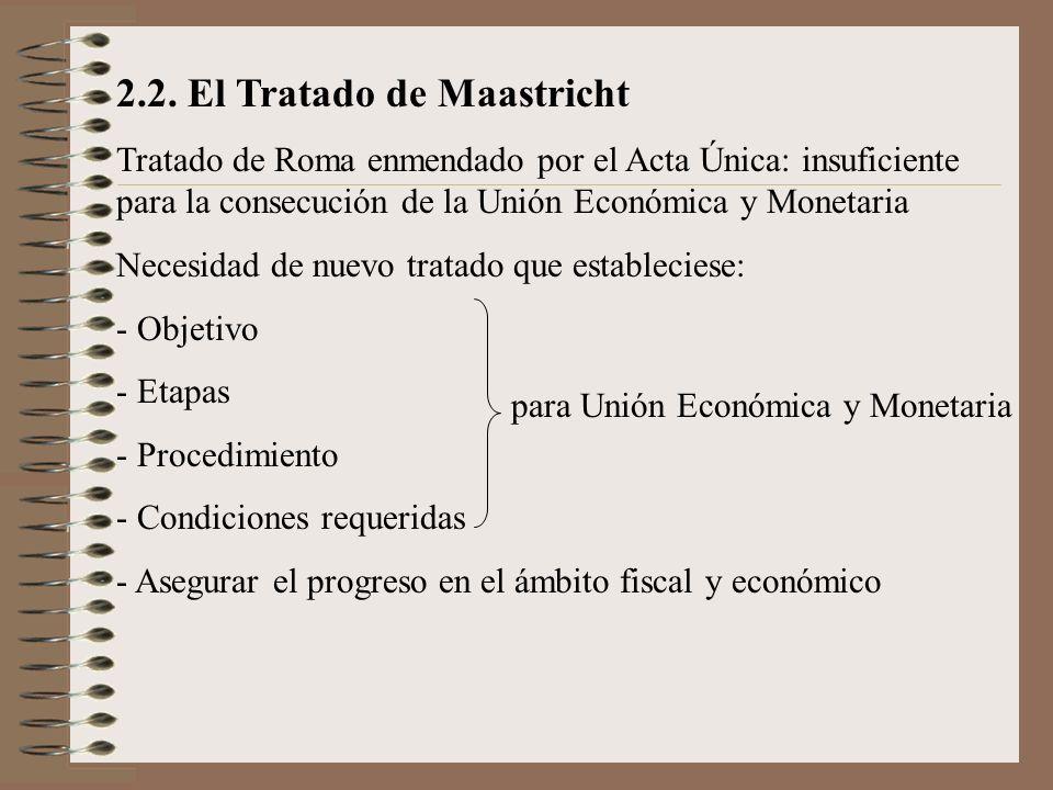 2.2. El Tratado de Maastricht Tratado de Roma enmendado por el Acta Única: insuficiente para la consecución de la Unión Económica y Monetaria Necesida
