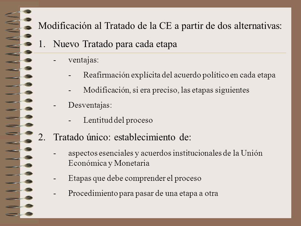 Modificación al Tratado de la CE a partir de dos alternativas: 1.Nuevo Tratado para cada etapa -ventajas: -Reafirmación explícita del acuerdo político