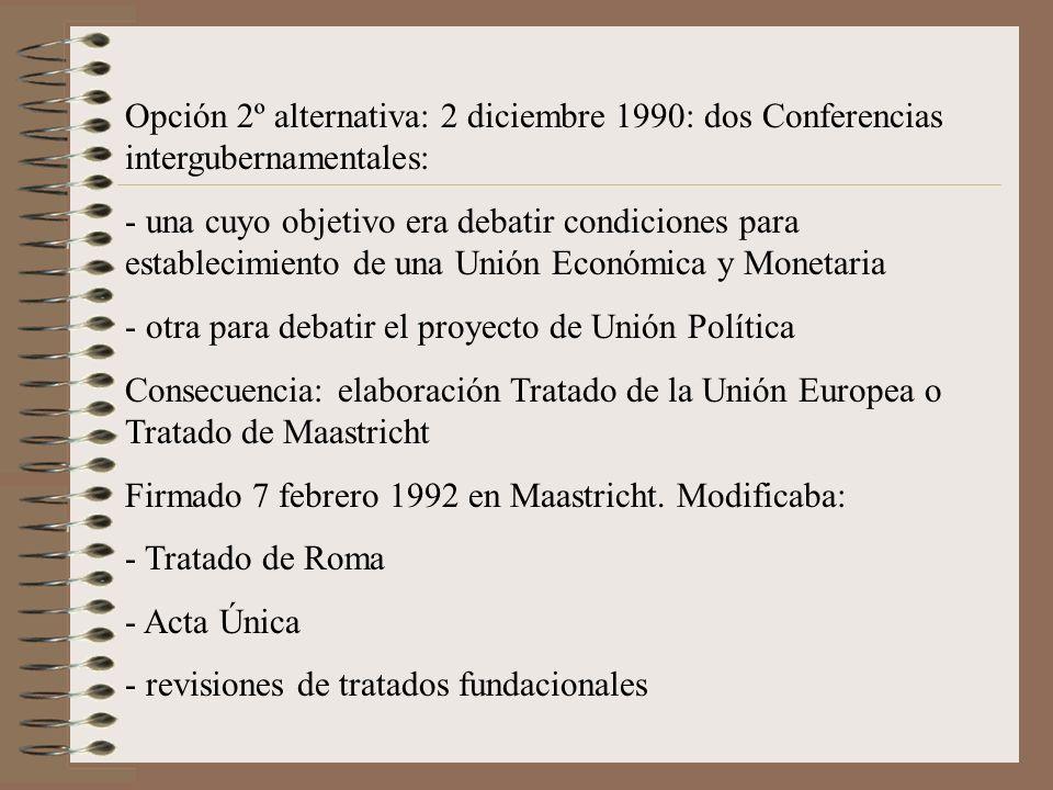 Opción 2º alternativa: 2 diciembre 1990: dos Conferencias intergubernamentales: - una cuyo objetivo era debatir condiciones para establecimiento de un