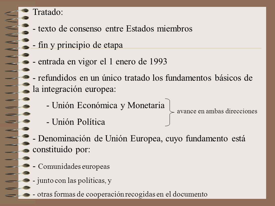 Tratado: - texto de consenso entre Estados miembros - fin y principio de etapa - entrada en vigor el 1 enero de 1993 - refundidos en un único tratado