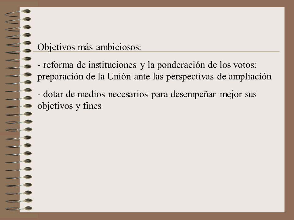 Objetivos más ambiciosos: - reforma de instituciones y la ponderación de los votos: preparación de la Unión ante las perspectivas de ampliación - dota