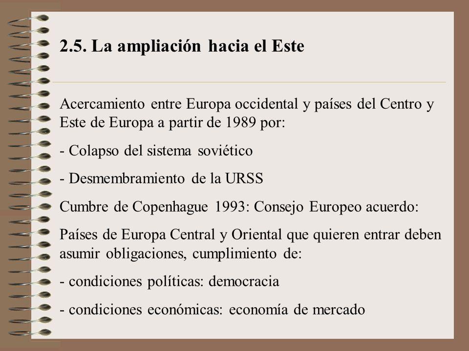 2.5. La ampliación hacia el Este Acercamiento entre Europa occidental y países del Centro y Este de Europa a partir de 1989 por: - Colapso del sistema