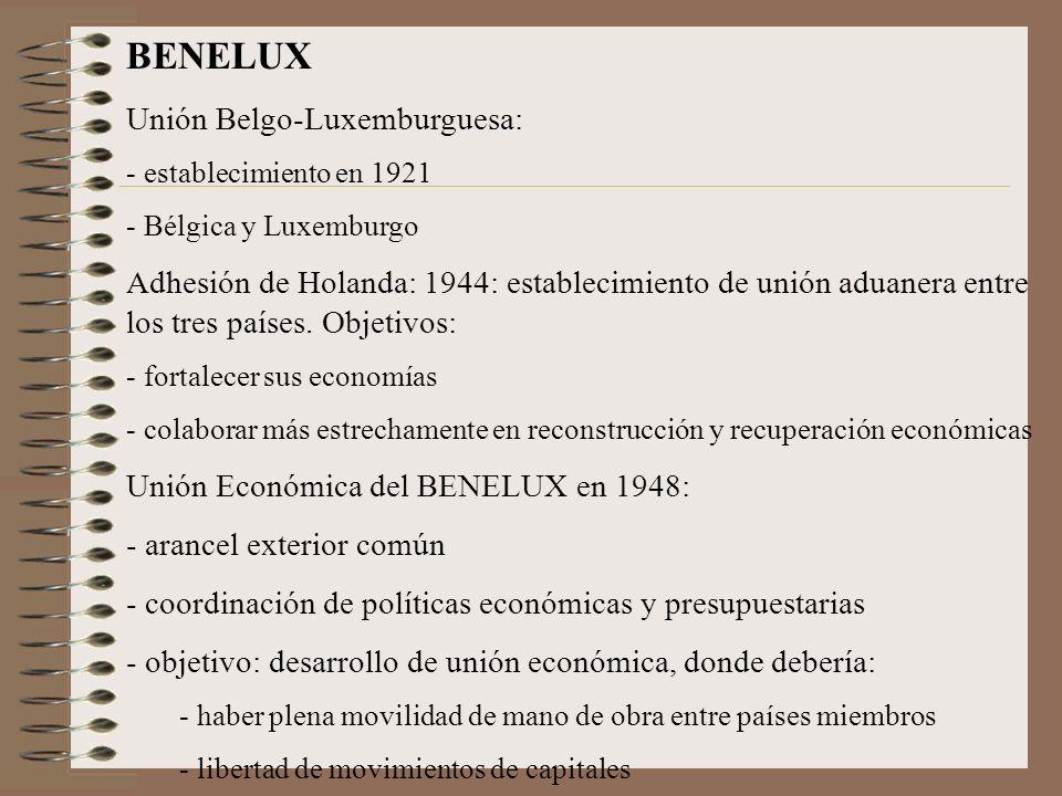 BENELUX Unión Belgo-Luxemburguesa: - establecimiento en 1921 - Bélgica y Luxemburgo Adhesión de Holanda: 1944: establecimiento de unión aduanera entre