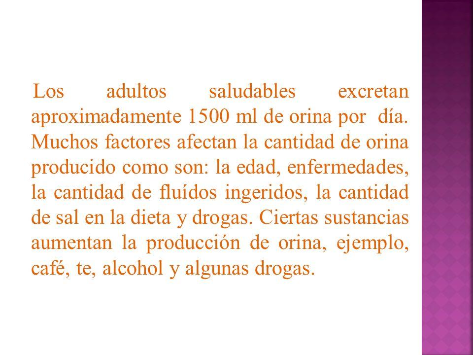 Los adultos saludables excretan aproximadamente 1500 ml de orina por día. Muchos factores afectan la cantidad de orina producido como son: la edad, en