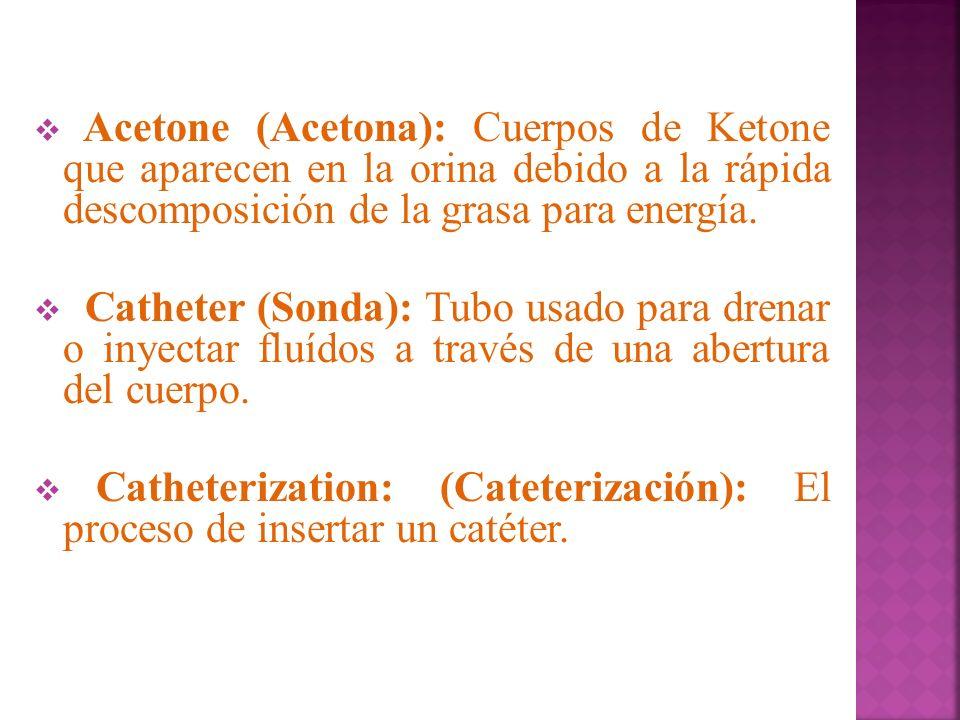 Acetone (Acetona): Cuerpos de Ketone que aparecen en la orina debido a la rápida descomposición de la grasa para energía. Catheter (Sonda): Tubo usado