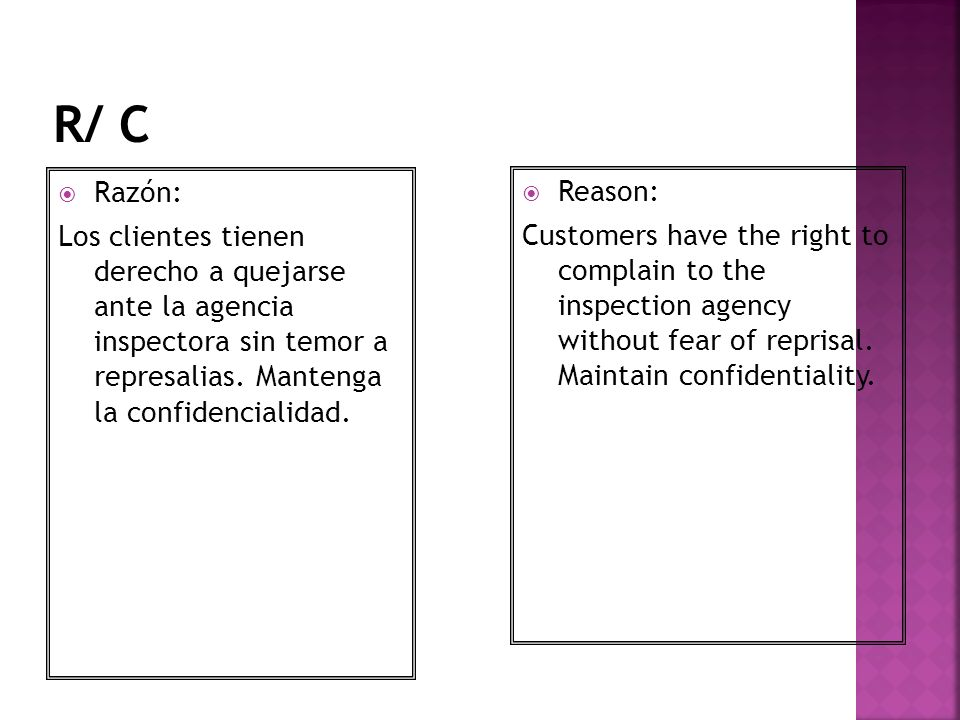 Razón: Los clientes tienen derecho a quejarse ante la agencia inspectora sin temor a represalias. Mantenga la confidencialidad. Reason: Customers have