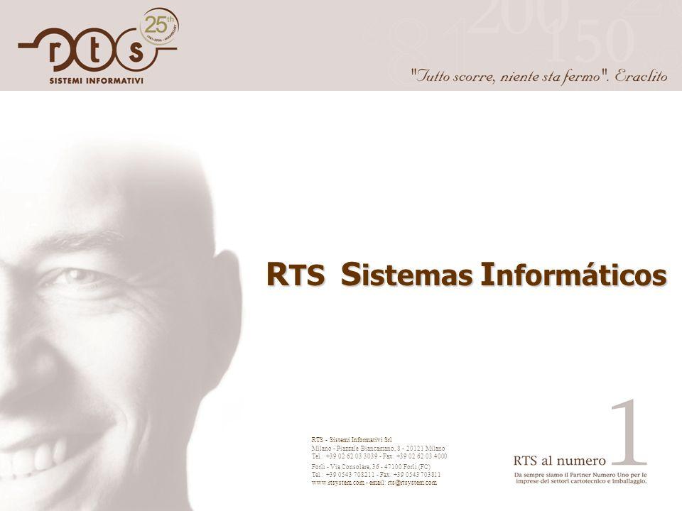 R TS S istemas I nformáticos RTS - Sistemi Informativi Srl Milano - Piazzale Biancamano, 8 - 20121 Milano Tel.: +39 02 62 03 3039 - Fax: +39 02 62 03