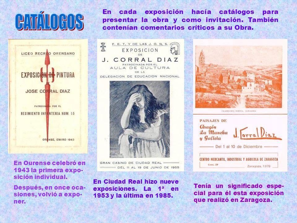 J. CORRAL DÍAZ, ha celebrado varias exposiciones colectivas y 76 exposiciones individuales. De ellas, 8 en Venezuela. Recorrió con su obra diversas ci