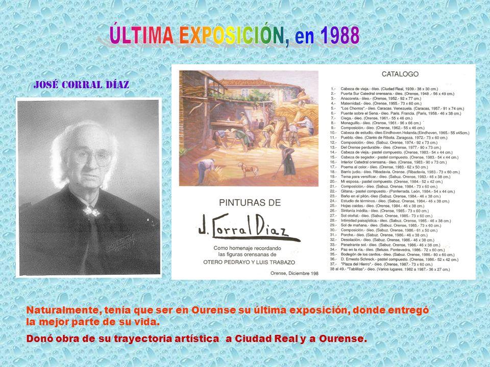 En Ourense celebró en 1943 la primera expo- sición individual. Después, en once oca- siones, volvió a expo- ner. En cada exposición hacía catálogos pa