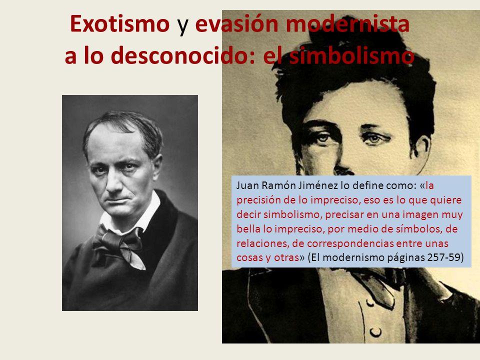 Exotismo y evasión modernista a lo desconocido: el simbolismo Juan Ramón Jiménez lo define como: «la precisión de lo impreciso, eso es lo que quiere d