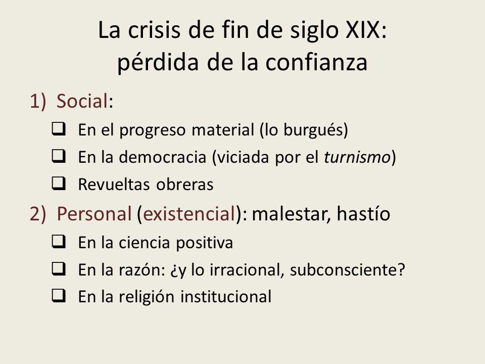 La crisis de fin de siglo XIX: pérdida de la confianza 1)Social: En el progreso material (lo burgués) En la democracia (viciada por el turnismo) Revue