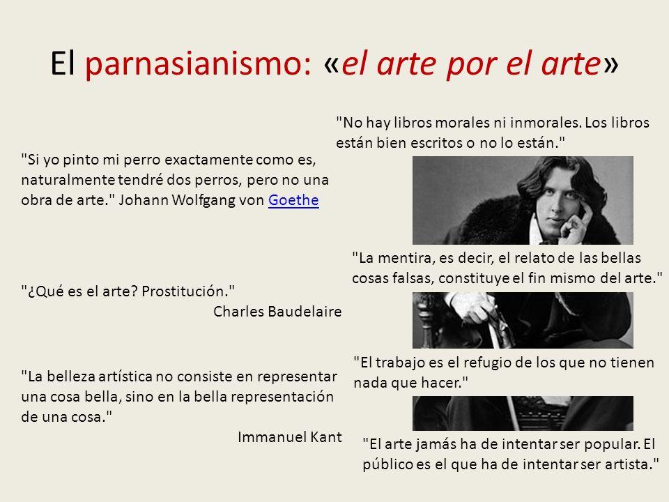 El parnasianismo: «el arte por el arte» La belleza artística no consiste en representar una cosa bella, sino en la bella representación de una cosa. Immanuel Kant ¿Qué es el arte.