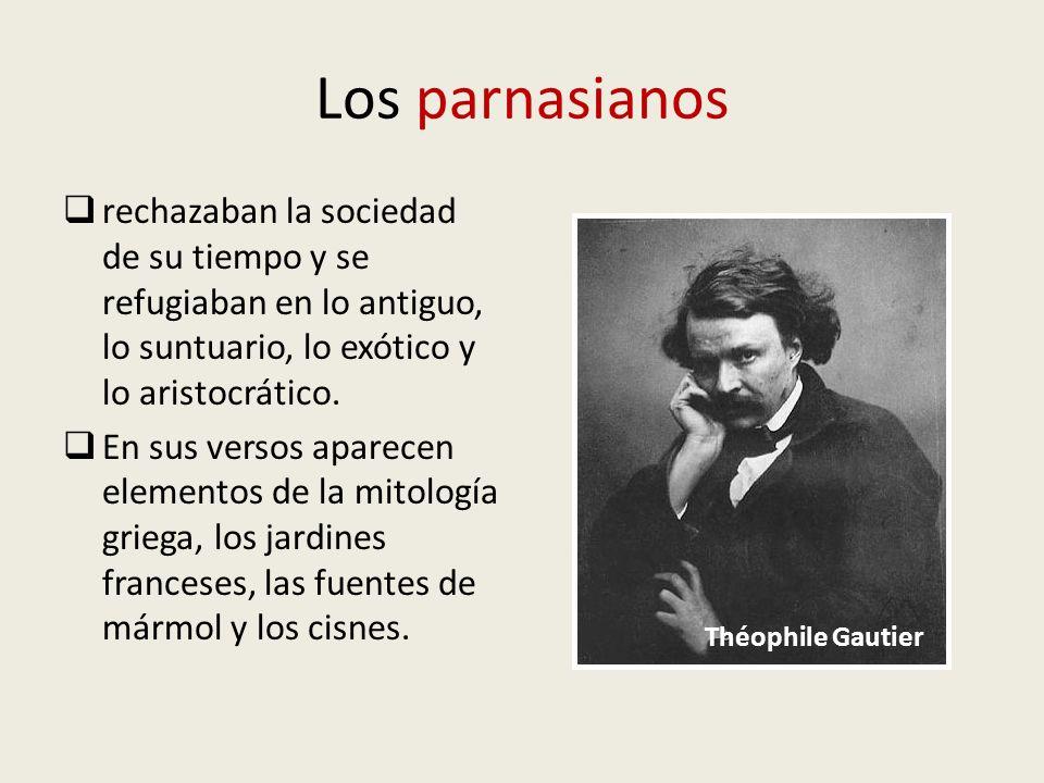 Los parnasianos rechazaban la sociedad de su tiempo y se refugiaban en lo antiguo, lo suntuario, lo exótico y lo aristocrático. En sus versos aparecen