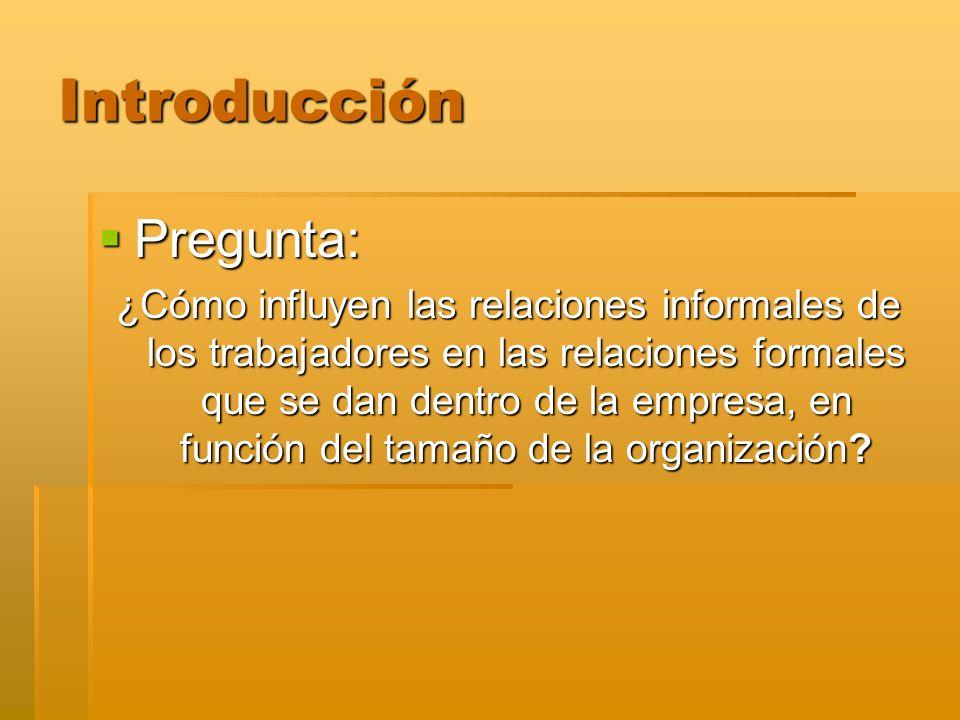 Introducción Pregunta: Pregunta: ¿Cómo influyen las relaciones informales de los trabajadores en las relaciones formales que se dan dentro de la empre