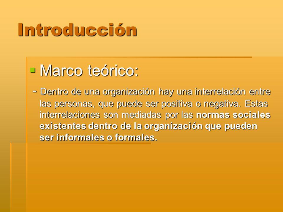 Introducción Marco teórico: Marco teórico: - Dentro de una organización hay una interrelación entre las personas, que puede ser positiva o negativa. E