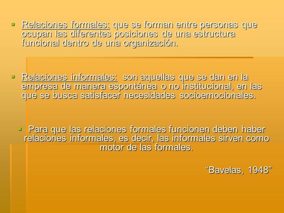 Relaciones formales: que se forman entre personas que ocupan las diferentes posiciones de una estructura funcional dentro de una organización. Relacio