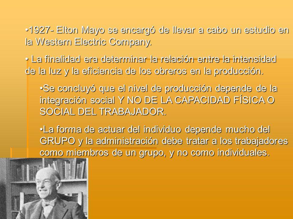 1927- Elton Mayo se encargó de llevar a cabo un estudio en la Western Electric Company.1927- Elton Mayo se encargó de llevar a cabo un estudio en la W