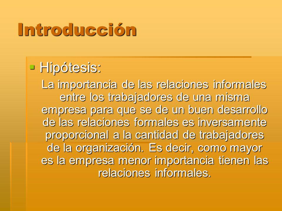 Introducción Hipótesis: Hipótesis: La importancia de las relaciones informales entre los trabajadores de una misma empresa para que se de un buen desa