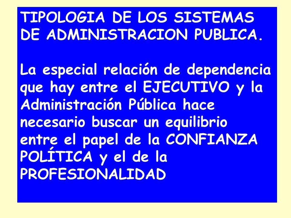 TIPOLOGIA DE LOS SISTEMAS DE ADMINISTRACION PUBLICA. La especial relación de dependencia que hay entre el EJECUTIVO y la Administración Pública hace n