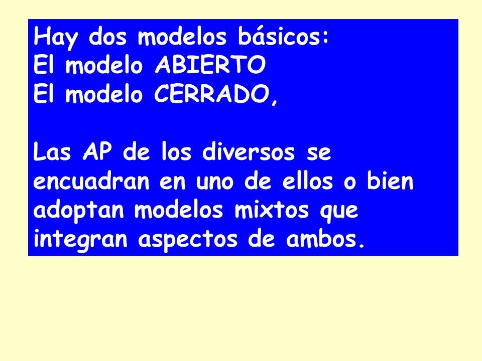 Hay dos modelos básicos: El modelo ABIERTO El modelo CERRADO, Las AP de los diversos se encuadran en uno de ellos o bien adoptan modelos mixtos que integran aspectos de ambos.
