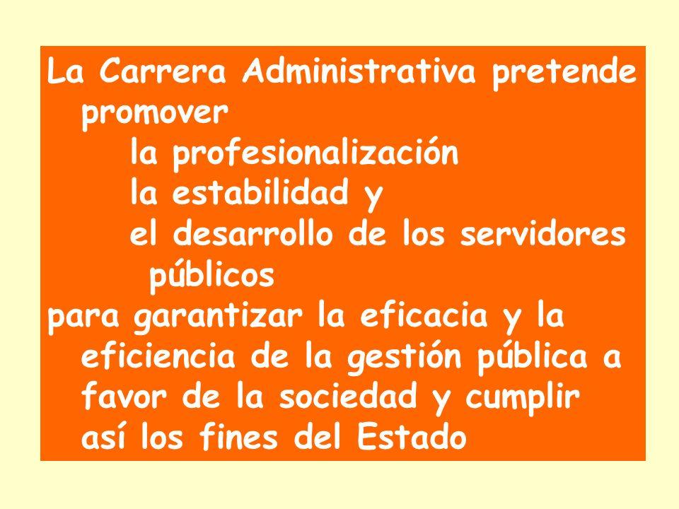 La Carrera Administrativa pretende promover la profesionalización la estabilidad y el desarrollo de los servidores públicos para garantizar la eficacia y la eficiencia de la gestión pública a favor de la sociedad y cumplir así los fines del Estado