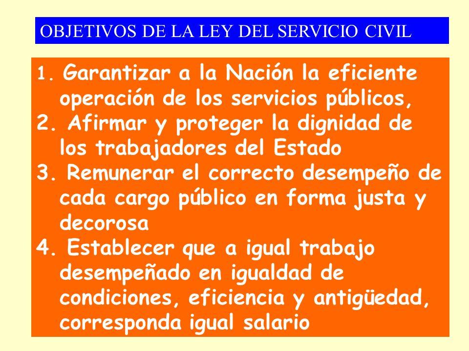 1. Garantizar a la Nación la eficiente operación de los servicios públicos, 2. Afirmar y proteger la dignidad de los trabajadores del Estado 3. Remune