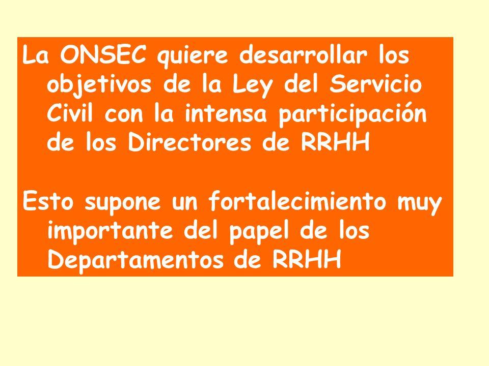 La ONSEC quiere desarrollar los objetivos de la Ley del Servicio Civil con la intensa participación de los Directores de RRHH Esto supone un fortalecimiento muy importante del papel de los Departamentos de RRHH