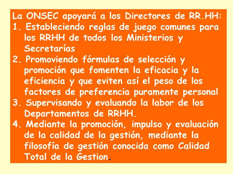 La ONSEC apoyará a los Directores de RR.HH: 1. Estableciendo reglas de juego comunes para los RRHH de todos los Ministerios y Secretarías 2. Promovien