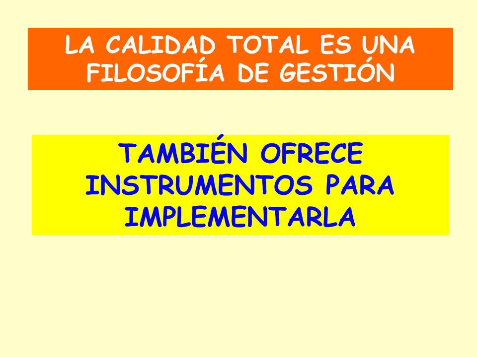 LA CALIDAD TOTAL ES UNA FILOSOFÍA DE GESTIÓN TAMBIÉN OFRECE INSTRUMENTOS PARA IMPLEMENTARLA