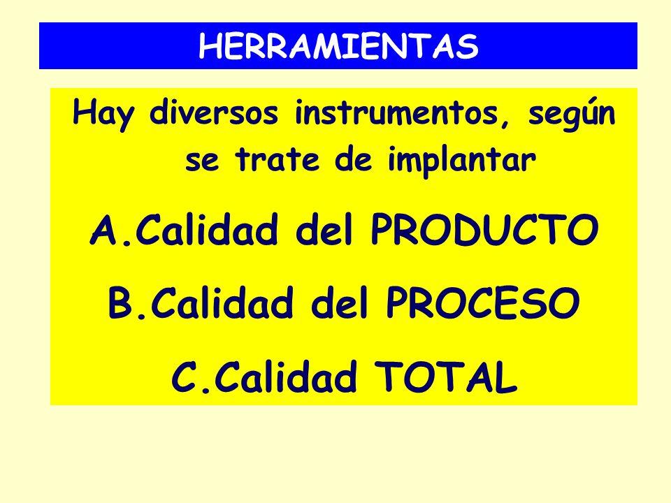 HERRAMIENTAS Hay diversos instrumentos, según se trate de implantar A.Calidad del PRODUCTO B.Calidad del PROCESO C.Calidad TOTAL
