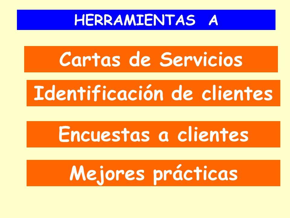 HERRAMIENTAS A Cartas de Servicios Identificación de clientes Encuestas a clientes Mejores prácticas
