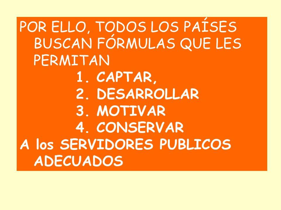 POR ELLO, TODOS LOS PAÍSES BUSCAN FÓRMULAS QUE LES PERMITAN 1. CAPTAR, 2. DESARROLLAR 3. MOTIVAR 4. CONSERVAR A los SERVIDORES PUBLICOS ADECUADOS