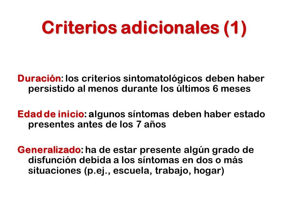Disfunción Disfunción: los síntomas deben ser causa de una disfunción significativa (social, académica, laboral) Nivel de desarrollo Nivel de desarrollo: los síntomas son excesivos en comparación con otros niños de la misma edad y CI Criterios de exclusión Criterios de exclusión: los síntomas no se explican mejor por la presencia de otro trastorno mental Criterios adicionales (2)