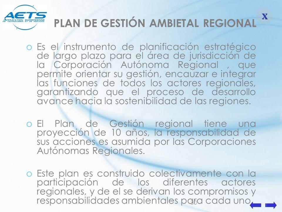 30 PLAN DE GESTIÓN AMBIETAL REGIONAL oEs el instrumento de planificación estratégico de largo plazo para el área de jurisdicción de la Corporación Aut