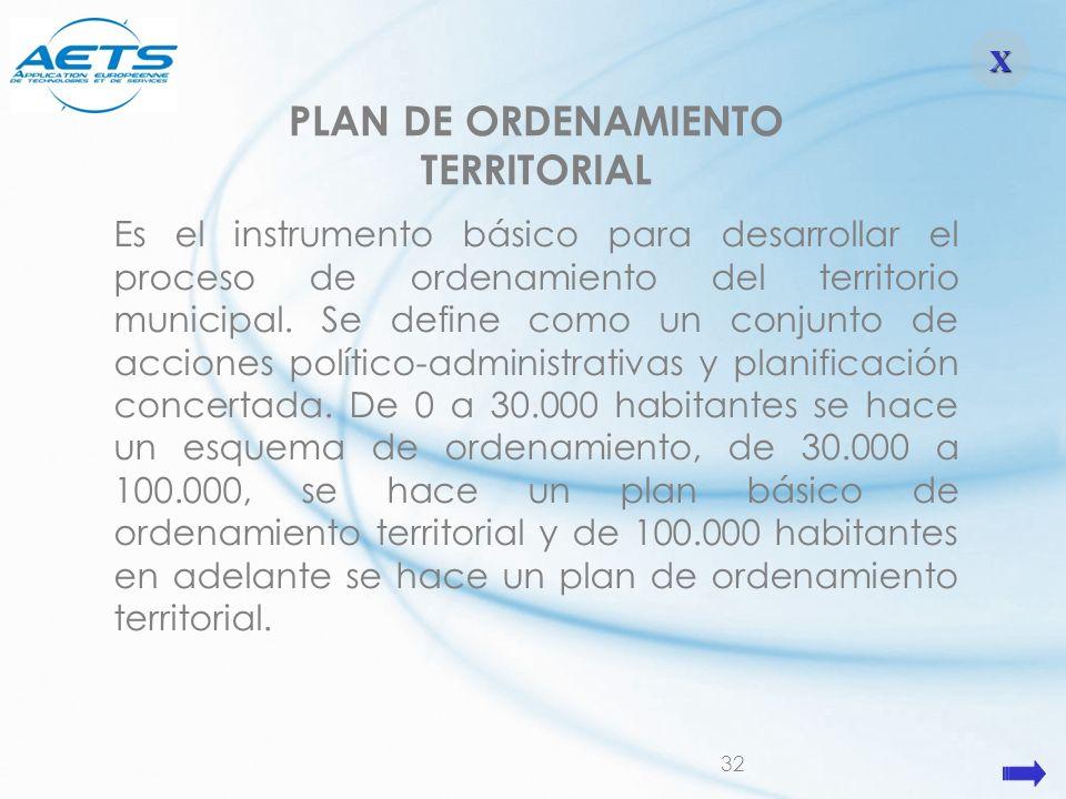 32 PLAN DE ORDENAMIENTO TERRITORIAL Es el instrumento básico para desarrollar el proceso de ordenamiento del territorio municipal. Se define como un c