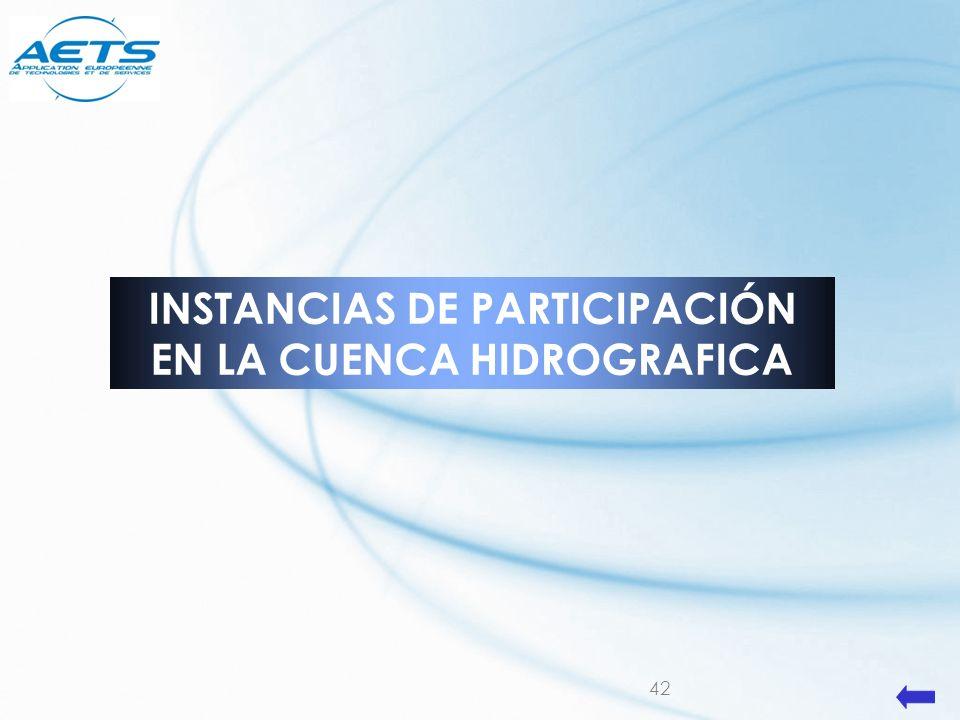 42 INSTANCIAS DE PARTICIPACIÓN EN LA CUENCA HIDROGRAFICA