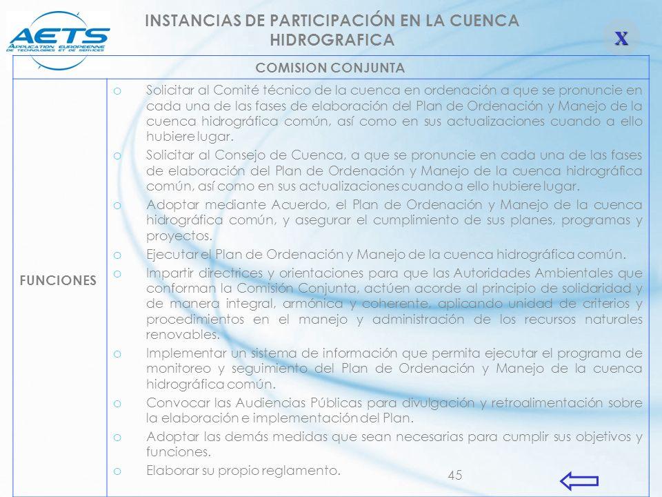 45 INSTANCIAS DE PARTICIPACIÓN EN LA CUENCA HIDROGRAFICA COMISION CONJUNTA FUNCIONES oSolicitar al Comité técnico de la cuenca en ordenación a que se