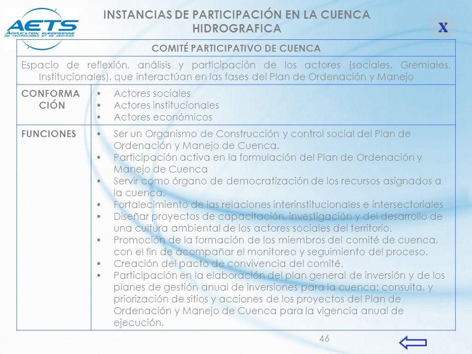 46 COMITÉ PARTICIPATIVO DE CUENCA Espacio de reflexión, análisis y participación de los actores (sociales, Gremiales, Institucionales), que interactúa