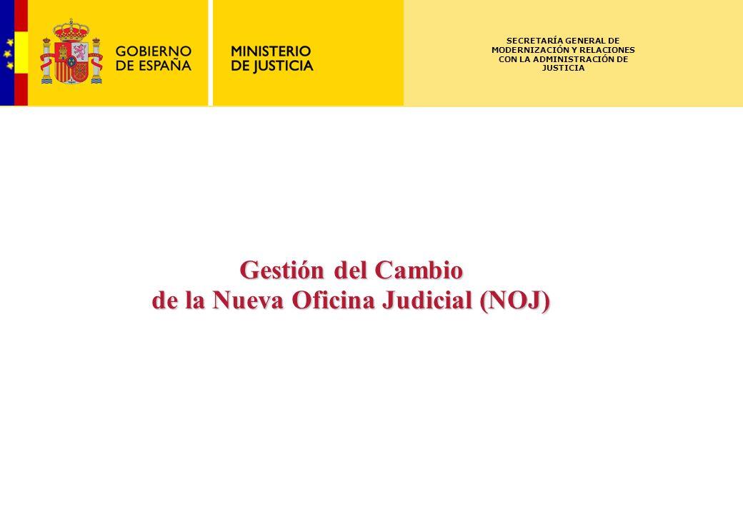 ISCSME-091588-1LL 02.03.2009 SECRETARÍA GENERAL DE MODERNIZACIÓN Y RELACIONES CON LA ADMINISTRACIÓN DE JUSTICIA Gestión del Cambio de la Nueva Oficina Judicial (NOJ)