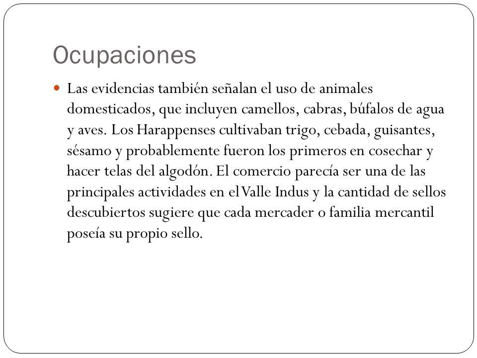 Ocupaciones Las evidencias también señalan el uso de animales domesticados, que incluyen camellos, cabras, búfalos de agua y aves. Los Harappenses cul