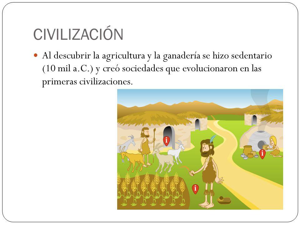 CIVILIZACIÓN Al descubrir la agricultura y la ganadería se hizo sedentario (10 mil a.C.) y creó sociedades que evolucionaron en las primeras civilizac