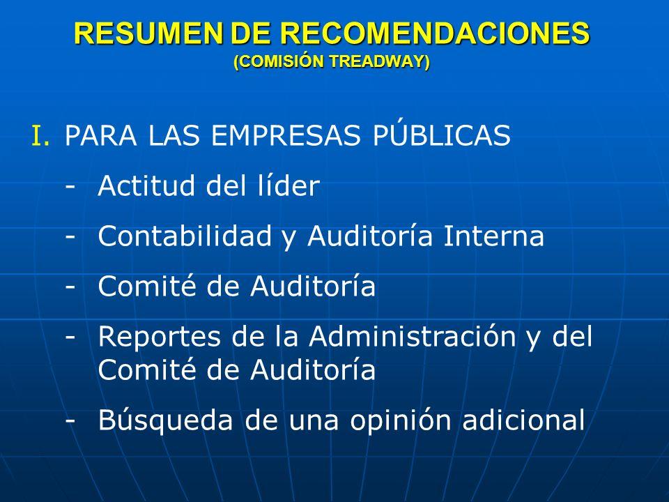 RESUMEN DE RECOMENDACIONES (COMISIÓN TREADWAY) II.PARA LOS CONTADORES PÚBLICOS INDEPENDIENTES -Responsabilidad en la detección de fraudes y de mejora de sus competencias - Mejora en la calidad de las auditorías -Mejora en las comunicaciones del Contador Público -Cambio del proceso para establecer Normas de Auditoría